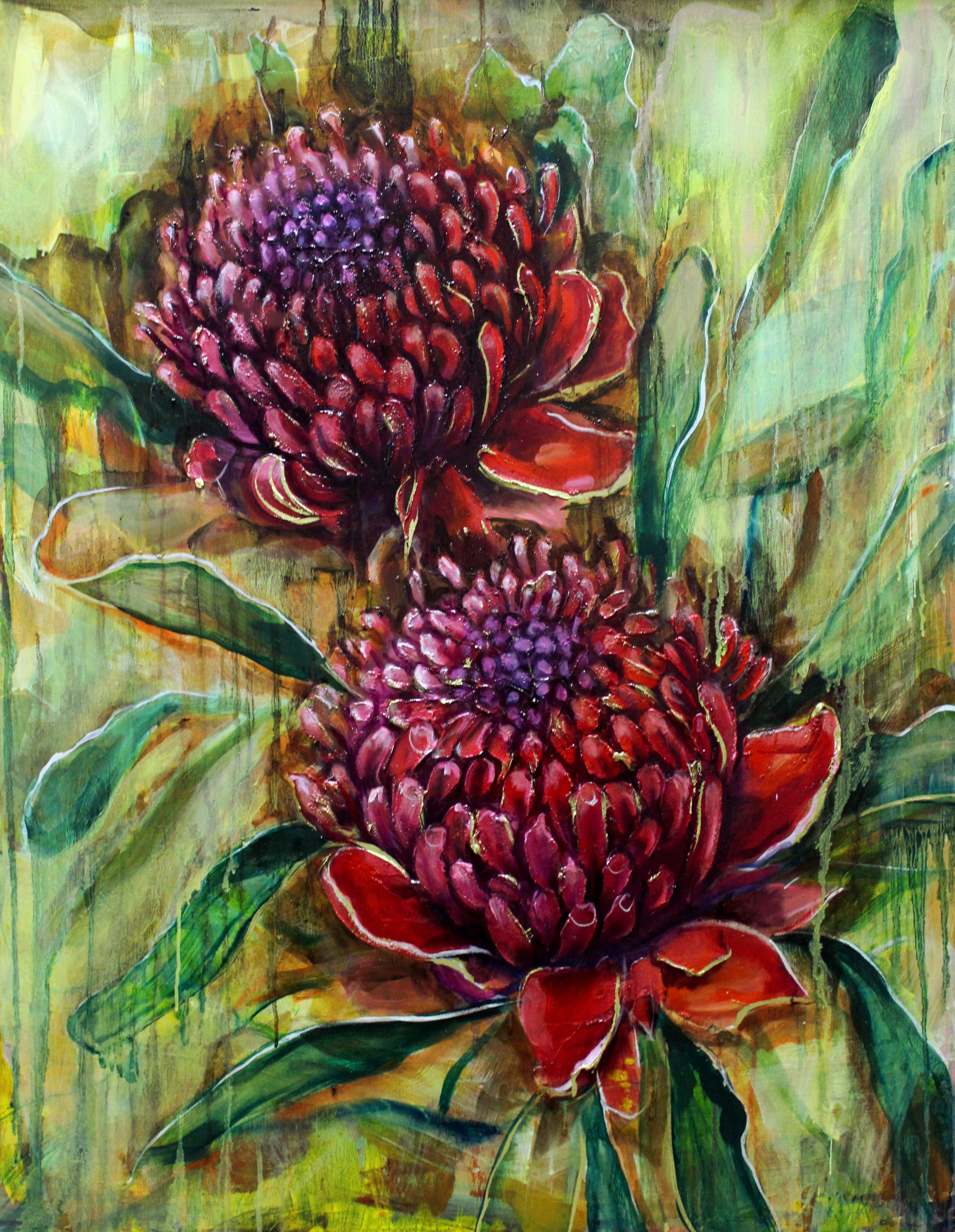 Original Painting 'Waratah Twins'